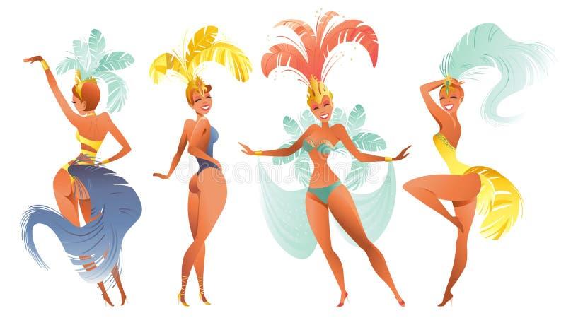 Grupo de dançarinos brasileiros do samba Carnaval do vetor em meninas que de Rio de janeiro um traje do festival está dançando ilustração do vetor