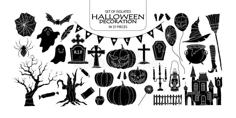 Grupo de decoração de Dia das Bruxas da silhueta ilustração royalty free