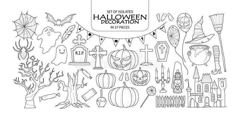 Grupo de decoração de Dia das Bruxas em 37 partes ilustração royalty free