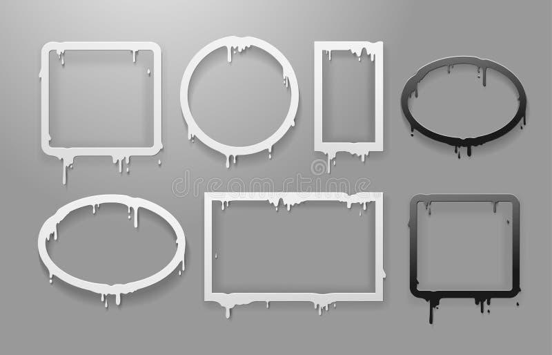 Grupo de derreter o quadro preto e branco da arte do papel do corte o fluxo 3d de fluxo circunda, esquadra, oval, molde de do sum ilustração stock