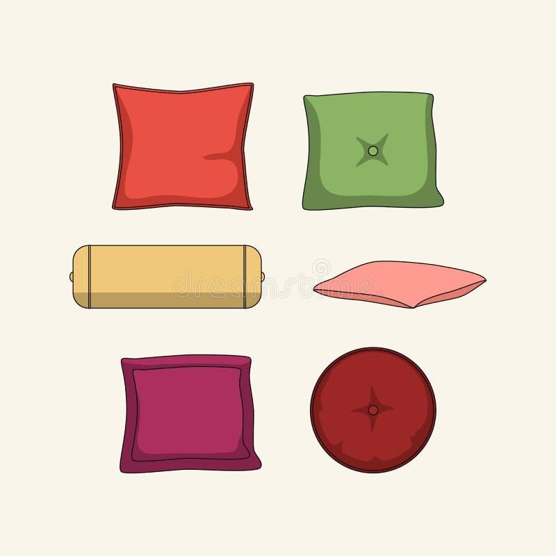 Grupo de 6 descansos coloridos para a casa ilustração royalty free