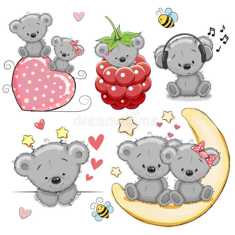 Grupo de desenhos animados bonitos Teddy Bear ilustração royalty free
