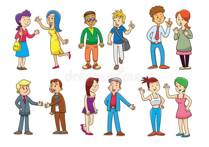 Grupo de desenhos animados de fala dos povos ilustração stock