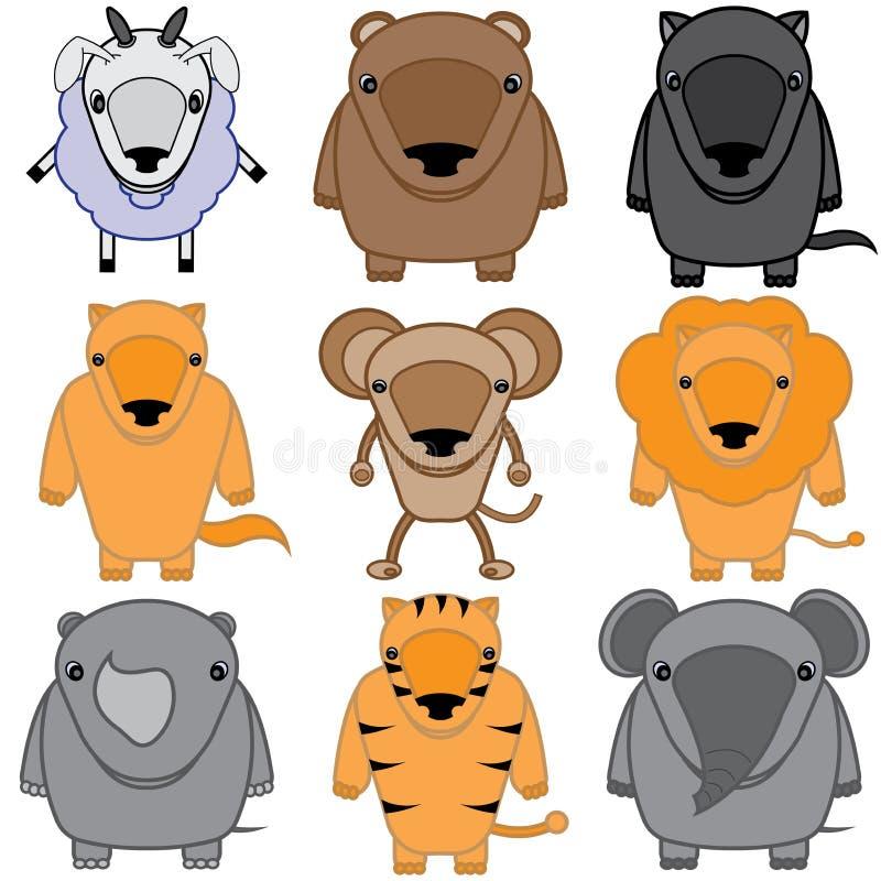 Grupo de desenhos animados dos animais do bebê ilustração stock