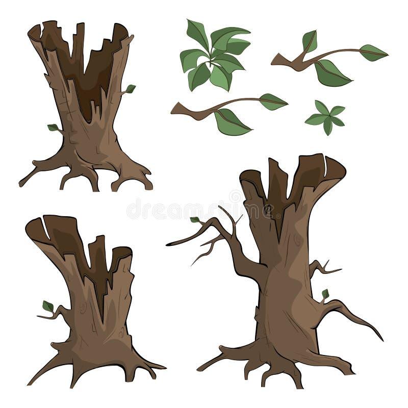 Grupo de desenhos animados secos das árvores ilustração stock