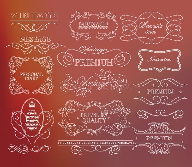 Grupo de design floral caligráfico do mão-desenho ilustração stock