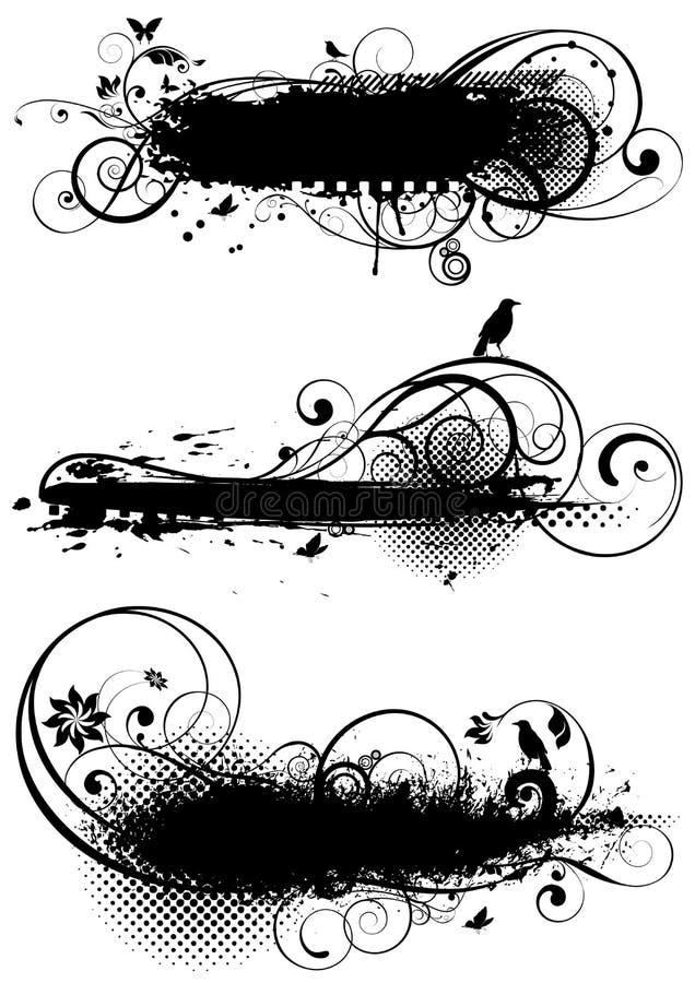 Grupo de designs florais do grunge ilustração stock
