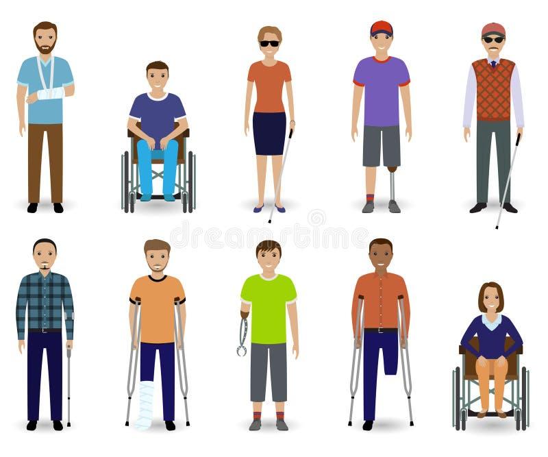 Grupo de dez deficientes motores dos caráteres Conceito da inabilidade Grupo de homem e de homens inválidos fêmeas ilustração royalty free