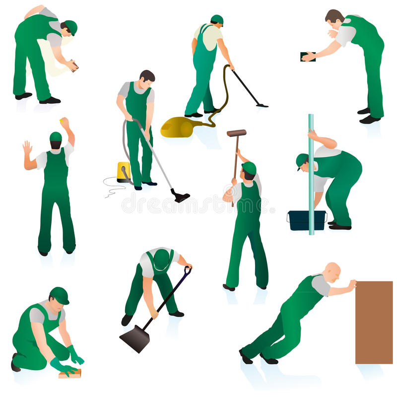 Grupo de dez líquidos de limpeza profissionais no uniforme verde ilustração royalty free