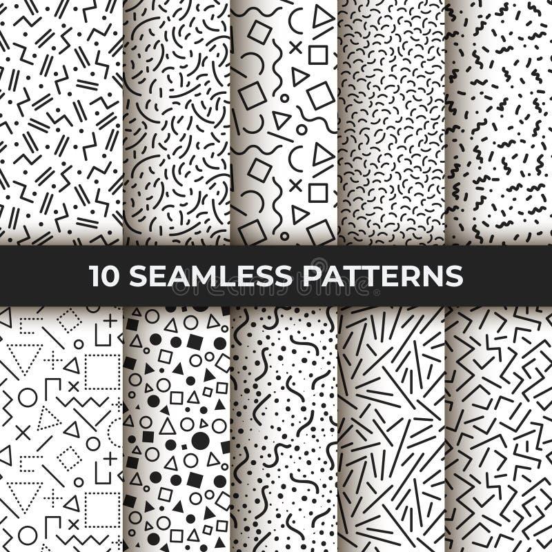 Grupo de dez testes padrões sem emenda Linha geométrica retro formas de memphis Estilo retro 80s da forma Vetor abstrato preto e  ilustração do vetor