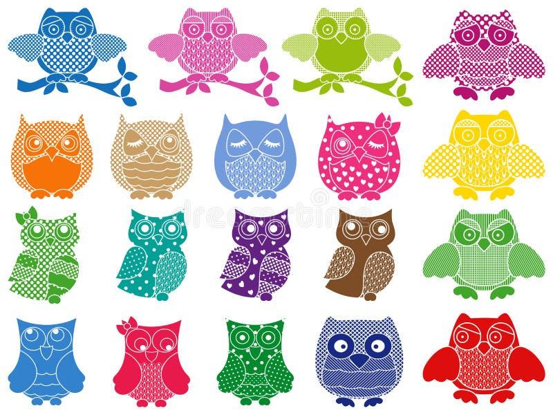 Grupo de dezenove corujas decorativas ilustração stock