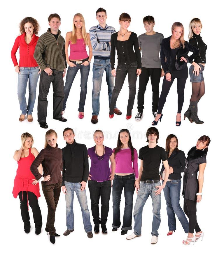 Grupo de dezesseis jovens imagens de stock royalty free