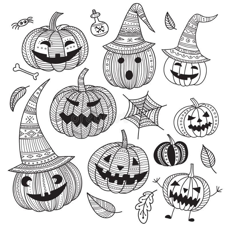Grupo de Dia das Bruxas de abóboras bonitos no estilo do boho ilustração do vetor
