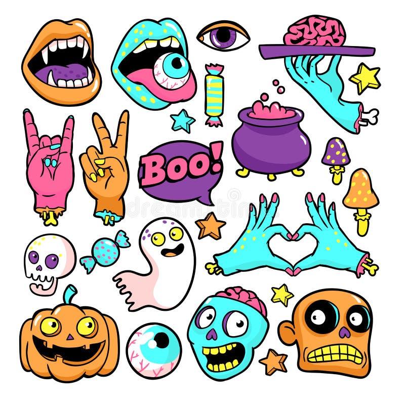Grupo de Dia das Bruxas de remendos no estilo cômico dos desenhos animados ilustração stock