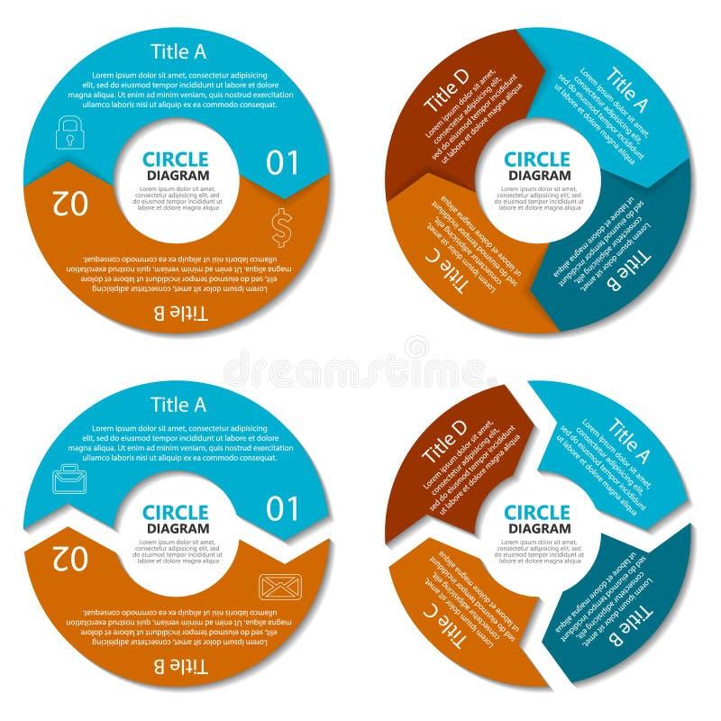 Grupo de diagrama do círculo Conceito do negócio com duas e quatro opções Infographic redondo ilustração royalty free