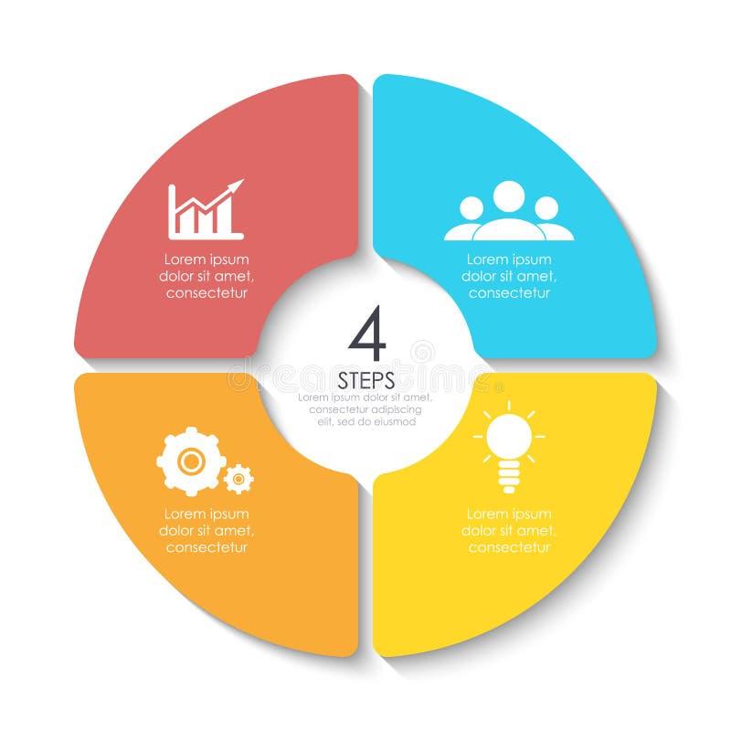 Grupo de diagrama infographic redondo Círculos de 4 elementos ou etapas ilustração stock