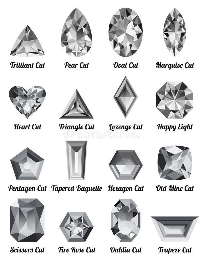 Grupo de diamantes brancos realísticos com cortes complexos ilustração do vetor
