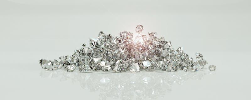 Grupo de diamantes em um fundo branco ilustração royalty free