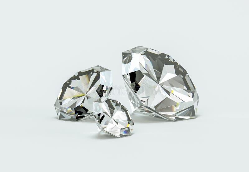 Grupo de diamantes em um fundo branco ilustração stock
