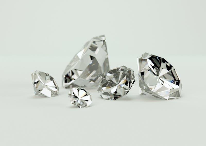 Grupo de diamantes em um fundo branco ilustração do vetor