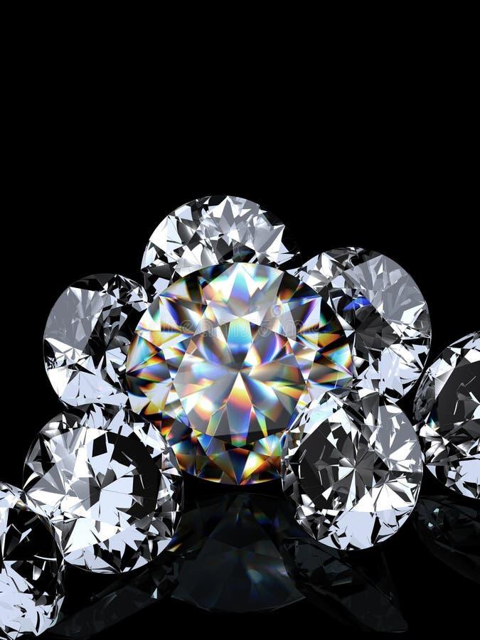 Grupo de diamantes en fondo negro ilustración del vector