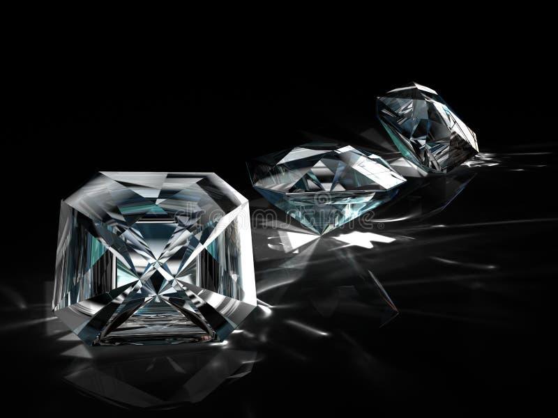 Grupo de diamantes en fondo negro Imagen esmeralda brillante chispeante hermosa de la forma redonda con la superficie reflexiva 3 foto de archivo libre de regalías