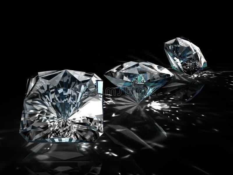 Grupo de diamantes en fondo negro Imagen esmeralda brillante chispeante hermosa de la forma redonda con la superficie reflexiva 3 foto de archivo