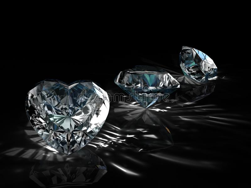 Grupo de diamantes en fondo negro Imagen esmeralda brillante chispeante hermosa de la forma redonda con la superficie reflexiva 3 fotos de archivo libres de regalías