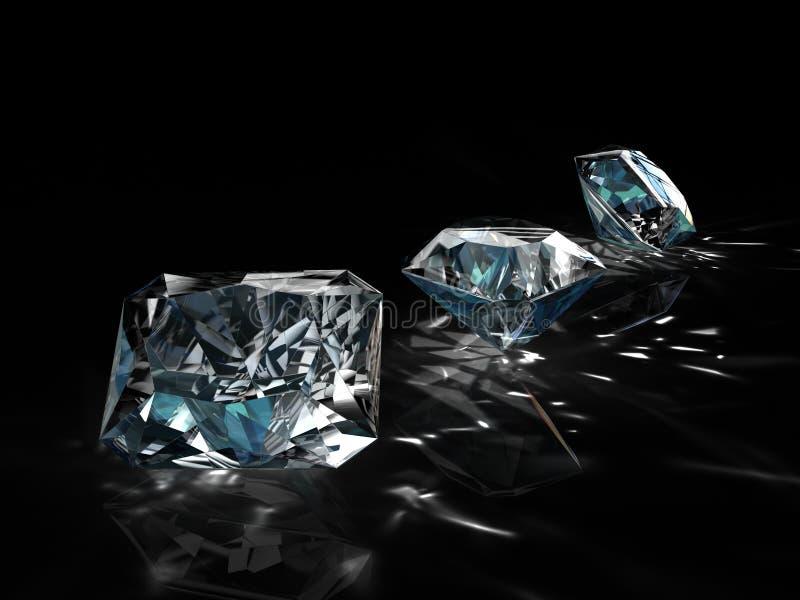 Grupo de diamantes en fondo negro Imagen esmeralda brillante chispeante hermosa de la forma redonda con la superficie reflexiva 3 imagenes de archivo