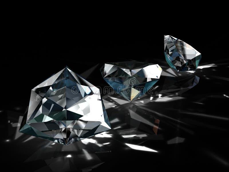 Grupo de diamantes en fondo negro Imagen esmeralda brillante chispeante hermosa de la forma redonda con la superficie reflexiva 3 fotografía de archivo libre de regalías