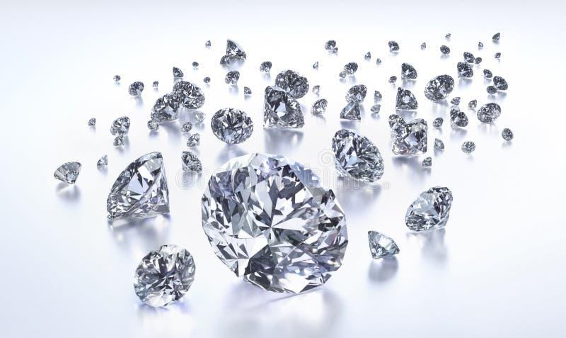 Grupo de diamantes en un fondo blanco libre illustration