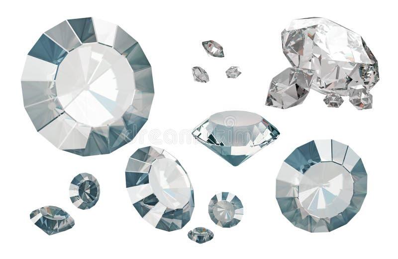 Grupo de diamantes luxuosos isolados nos fundos brancos ilustração stock