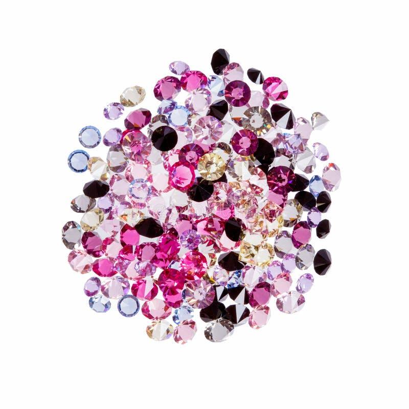 Grupo de diamantes de pedras preciosas, joia no branco Foto de alta resolu??o ilustração stock