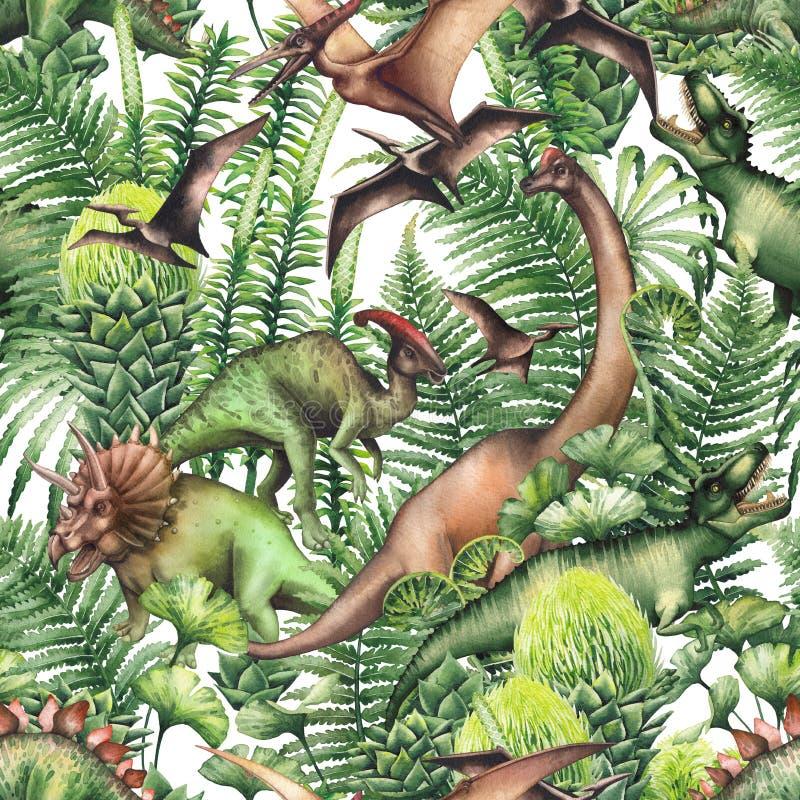 Grupo de dinosaurios de la acuarela stock de ilustración