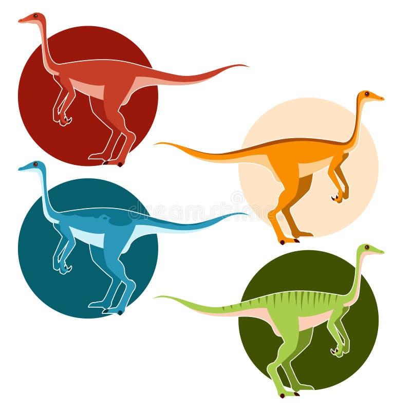 Grupo de dinossauros da avestruz ilustração royalty free