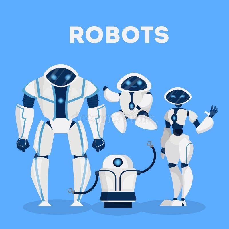 Grupo de diseño de carácter del robot Inteligencia artificial ilustración del vector