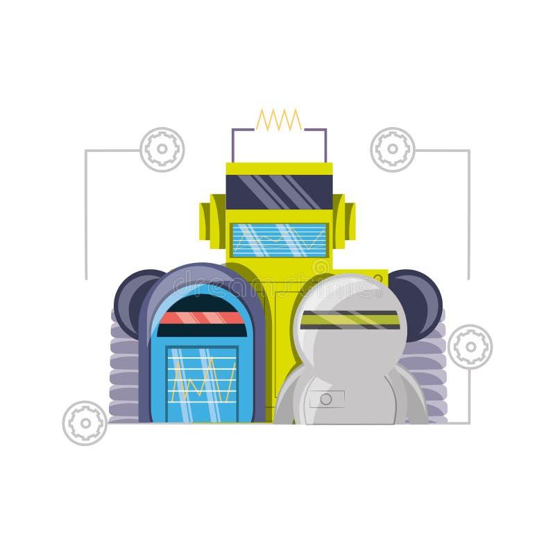 Grupo de diseño de la historieta del robot stock de ilustración