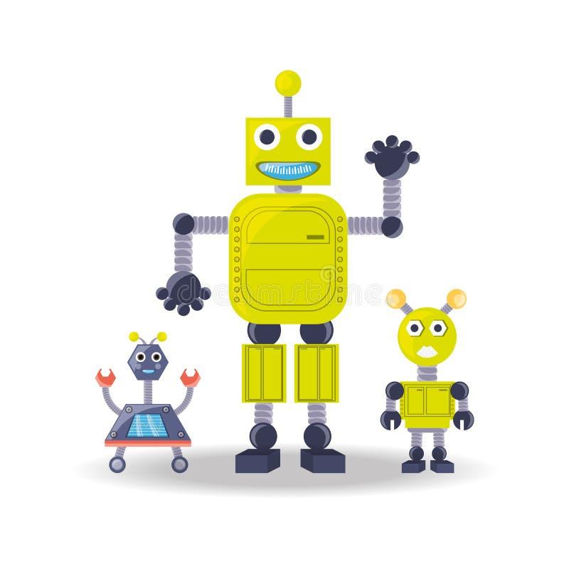 Grupo de diseño de la historieta del robot ilustración del vector
