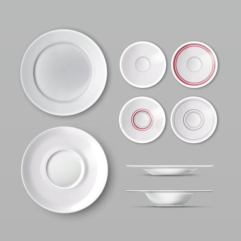Grupo de dishware ilustração stock