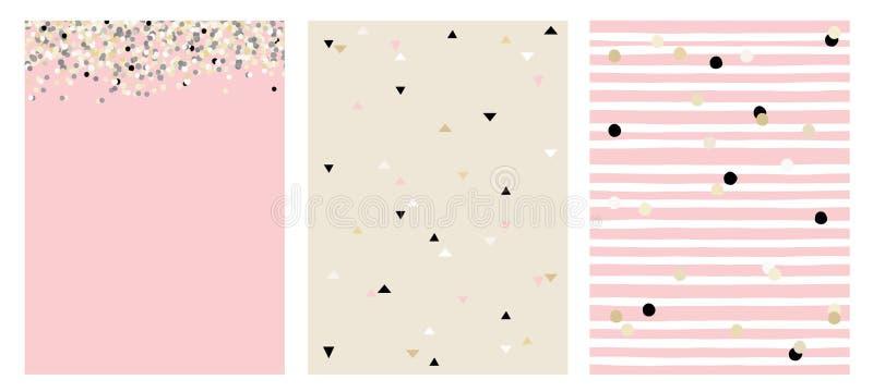 Grupo de 3 disposições do vetor do sumário de Varius Mão bonito projeto cor-de-rosa, bege e preto tirado da cor ilustração royalty free