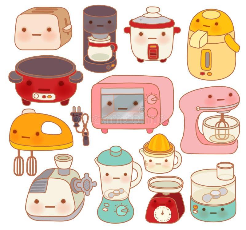 Grupo de dispositivos de cozinha adoráveis, chaleira bonito, forno bonito, ilustração royalty free