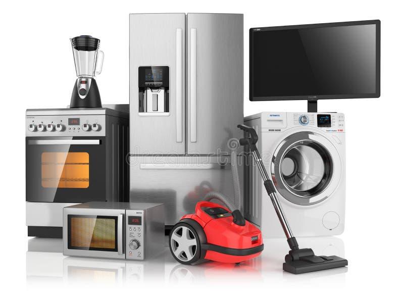 Grupo de dispositivos de cozinha do agregado familiar ilustração royalty free