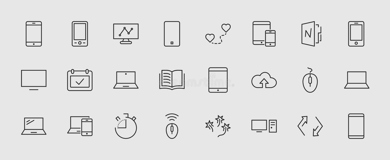 Grupo de dispositivos e dispositivos espertos, material informático e eletrônica Ícones dos dispositivos eletrónicos para a Web e ilustração do vetor