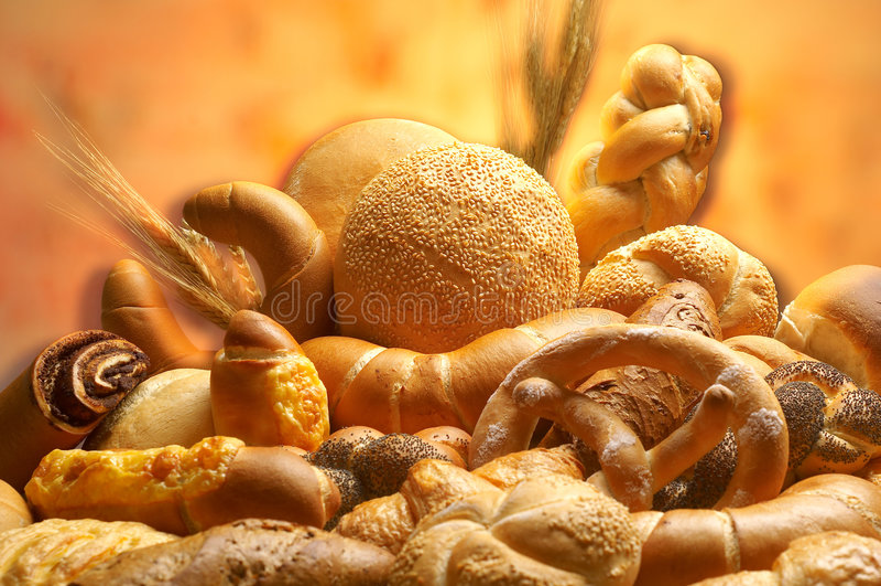 Grupo de diversos productos del pan imágenes de archivo libres de regalías