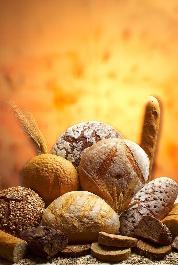 Grupo de diversos productos del pan imagen de archivo libre de regalías