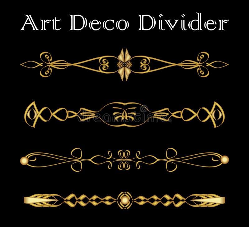 Grupo de divisor tipográfico do vintage no projeto do art deco do ouro, elementos decorativos luxuosos para a cópia, menus do sep ilustração royalty free
