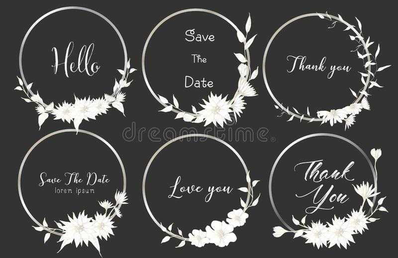 Grupo de divisores em volta dos quadros, flores tiradas mão, composição botânica, elemento decorativo para o cartão de casamento ilustração stock