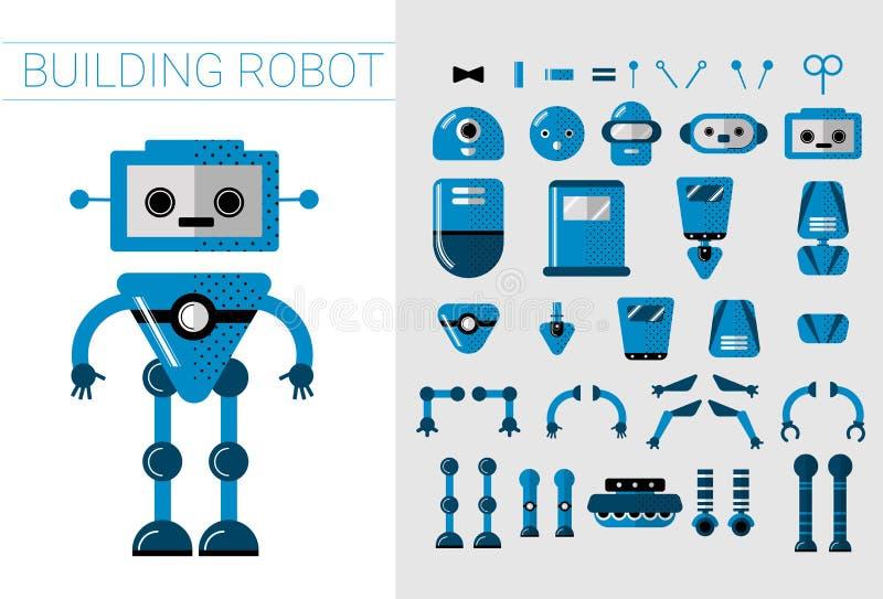 Grupo de DIY de detalhes dos robôs do vetor no estilo liso dos desenhos animados Peças separadas robóticos dos desenhos animados  ilustração stock