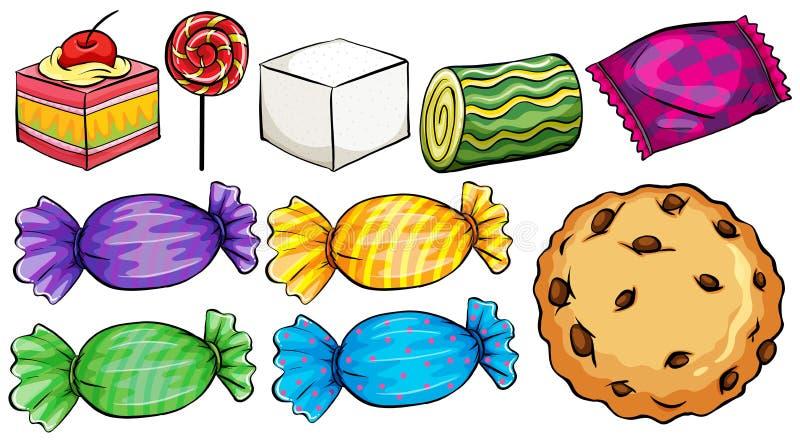 Grupo de doces ilustração stock