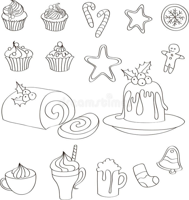 Grupo de doces, de bolos e de bebidas tirados mão do Natal foto de stock royalty free